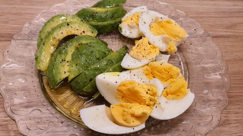 Avocado and hard boiled eggs