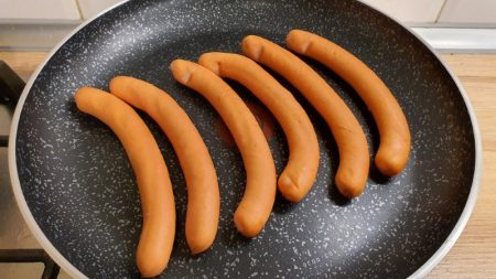 Hot dogs in a pan