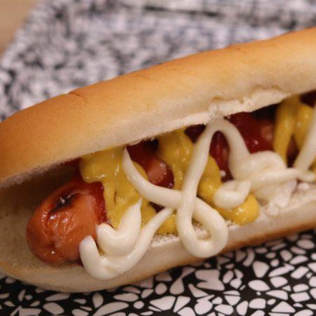 Pan fried hot dog in bun